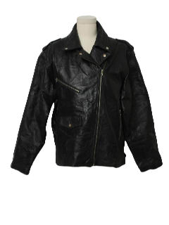 1980's Mens Totally 80s Leather Biker Jacket