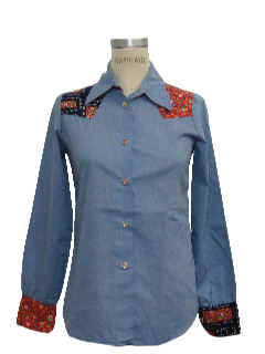 1970's Womens Chambray Western Hippie Shirt
