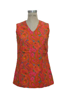1960's Womens Mod Paisley Hippie Shirt