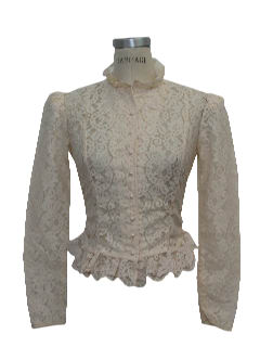 1980's Womens Totally 80s Victorian Style Frilly Lace Ruffle Shirt