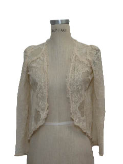 1980's Womens Lace Frilly Cardigan Shirt
