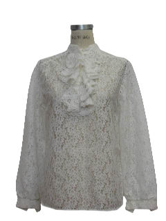 1970's Womens Frilly Lace Ruffle Shirt