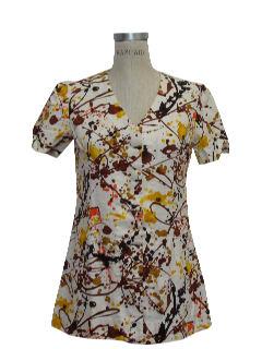 1970's Womens Op-Art Mod Shirt