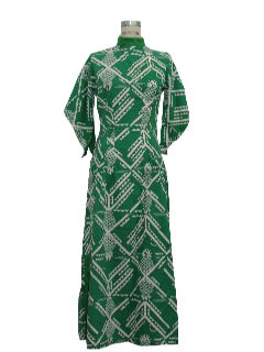 1960's Womens Maxi Hawaiian Hippie Dress