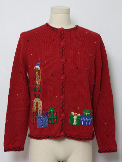1980's Womens Cat-Tastic Ugly Christmas Sweater