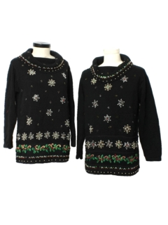 1980's Womens Matching Pair of Two Ugly Christmas Oversized Cocktail Sweaters