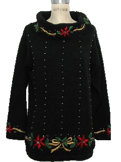 1980's Womens Ugly Oversized Christmas Cocktail Sweater