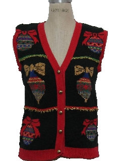 1980's Womens or Girls Vintage Ugly Christmas Sweater Vest