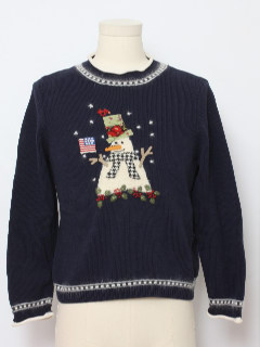 1980's Unisex Ladies or Boys Patriotic Snowman Ugly Christmas Sweater