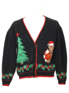 1980's Womens Bear-riffic Vintage Ugly Christmas Cardigan Sweater