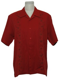 1990's Mens Embroidered Guayabera Style Shirt