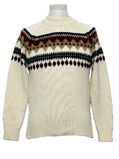 1970's Mens Mod Abstract Snowflakes Ski Sweater