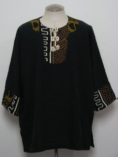 1980's Mens Ethnic African Hippie Dashiki Inspired Shirt