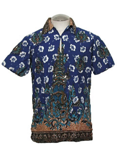1980's Mens Hawaiian Style Asian Inspired Shirt