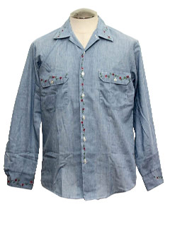 1970's Mens Chambray Embroidered Hippie Work Shirt