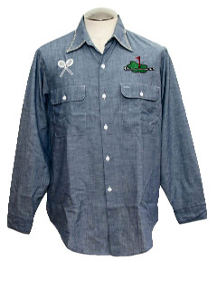 1970's Mens Embroidered Atheletic Motif Chambray Work Shirt