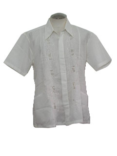 1980's Mens Guayabera Inspired Hippie Shirt