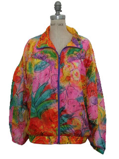 1980's Womens Totally 80s Hip Hop Style Oversized Windbreaker Jacket