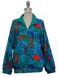 1980's Womens Oversized Totally 80s Hip Hop Style Windbreaker Jacket