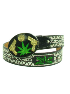 1990's Mens Accessories - Leather Hip Hop Marijuana Belt