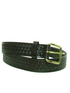 1980's Mens Accessories - Leather Woven Look Stamped Belt