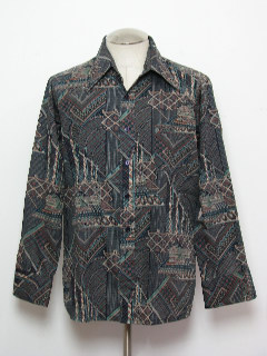 1970's Mens Abstract Geometric Print Disco Style Cotton Blend Shirt