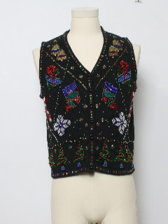 1980's Womens Heavily Beaded Ugly Christmas Sweater Vest