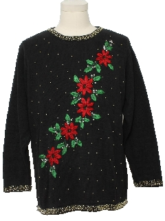 1980's Unisex Beaded Embroidered Ugly Christmas Sweater