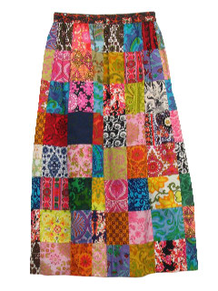 1970's Womens Patchwork Mod Hippie Skirt