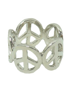 1970's Unisex Accessories Jewelry - Silver Peace Symbol Hippie Ring