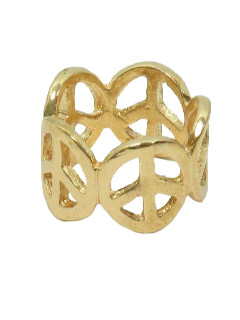 1970's Unisex Accessories Jewelry - Gold Peace Symbol Hippie Ring