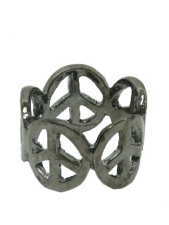 1970's Unisex Accessories Jewelry - Dark Pewter Peace Symbol Hippie Ring