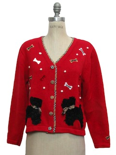 1990's Womens Cheesy Kitschy Dog Tastic Sweater