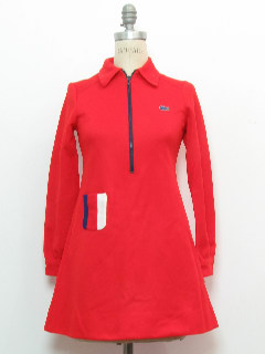 1970's Womens Izod Mod Knit Mini Tennis Dress