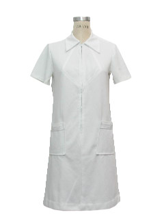 1970's Womens Mod Knit Nurse-Look Dress