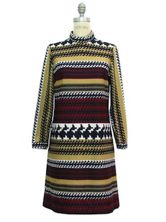 1970's Womens Mod Op-Art Knit Dress