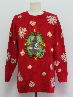1980's Unisex Krampus Amber Lightup Ugly Christmas Sweater