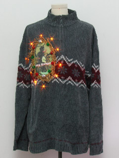 1980's Mens Krampus Amber Lightup Ugly Christmas Sweater