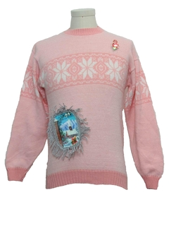 1980's Womens or Girls Hand Embellished Ugly Christmas Sweater