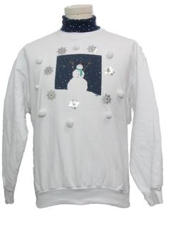 1980's Unisex Hand Embellished Ugly Christmas Sweatshirt