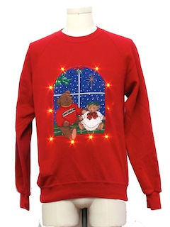 1980's Unisex Amber Lightup Bear-riffic Ugly Christmas Sweatshirt