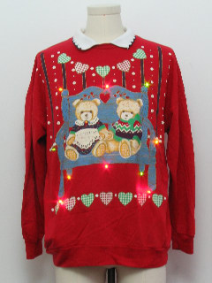 1980's Unisex VIntage Bear-riffic Multicolor Lightup Ugly Christmas Sweatshirt