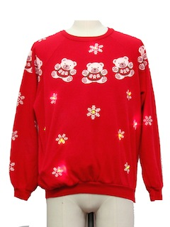 1980's Unisex Multicolor Lightup Bear-riffic Ugly Christmas Vintage Sweatshirt
