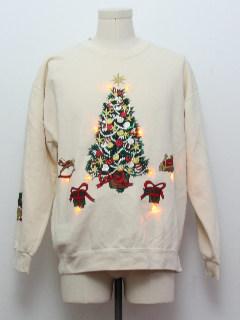 1980's Unisex Amber Lightup Ugly Christmas Sweatshirt