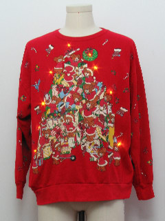 1980's Womens Amber Lightup Bear-riffic Ugly Christmas Vintage Sweatshirt