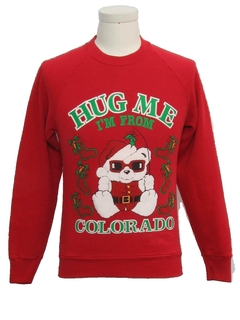1980's Unisex Ladies or Boys Vintage Bear-riffic Ugly Christmas Sweatshirt