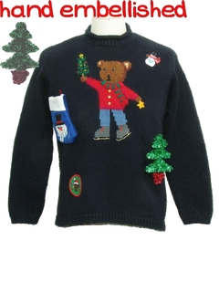 1980's Womens Bear-riffic Hand Embellished Ugly Christmas Sweater
