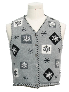 1980's Womens or Girls Ugly Christmas Snowflake Sweater Vest