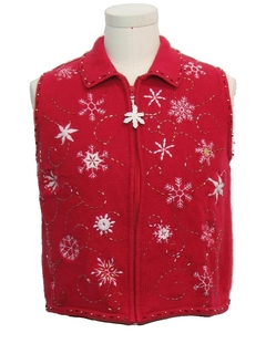 1980's Womens Snowflake Ugly Christmas Sweater Vest