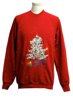 1980's Mens Multicolor Lightup Ugly Christmas Sweatshirt